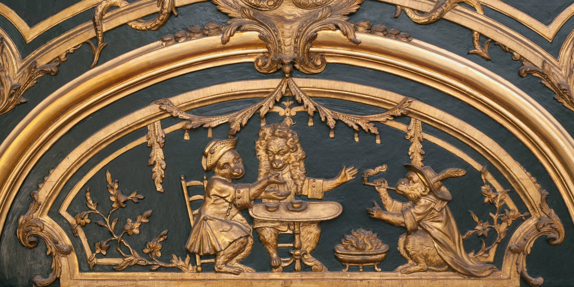 Gilded painted oak french panelling