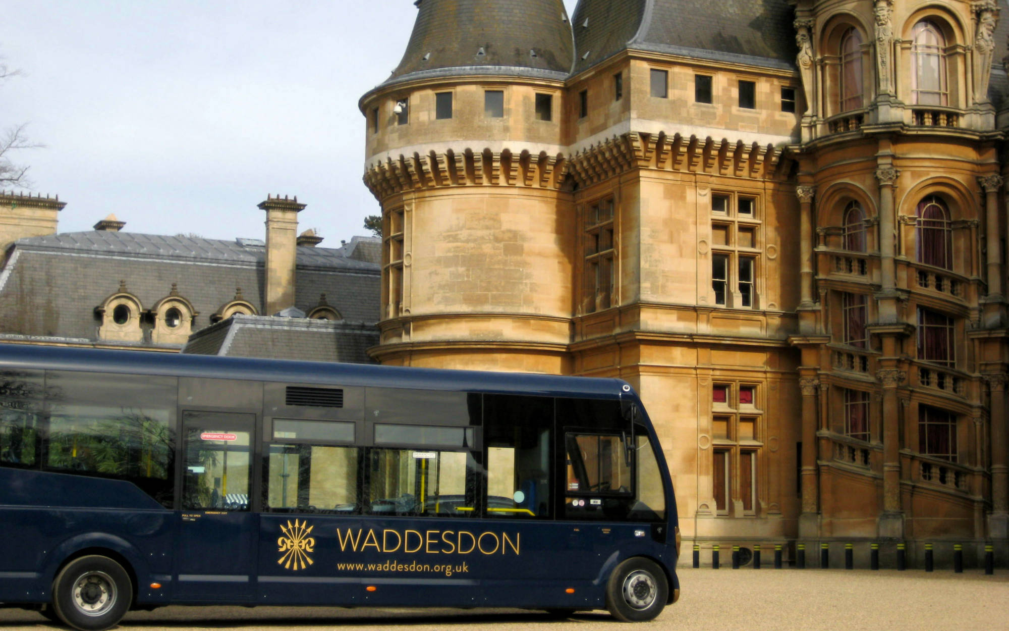 Waddesdon shuttle bus at the North Front of the house