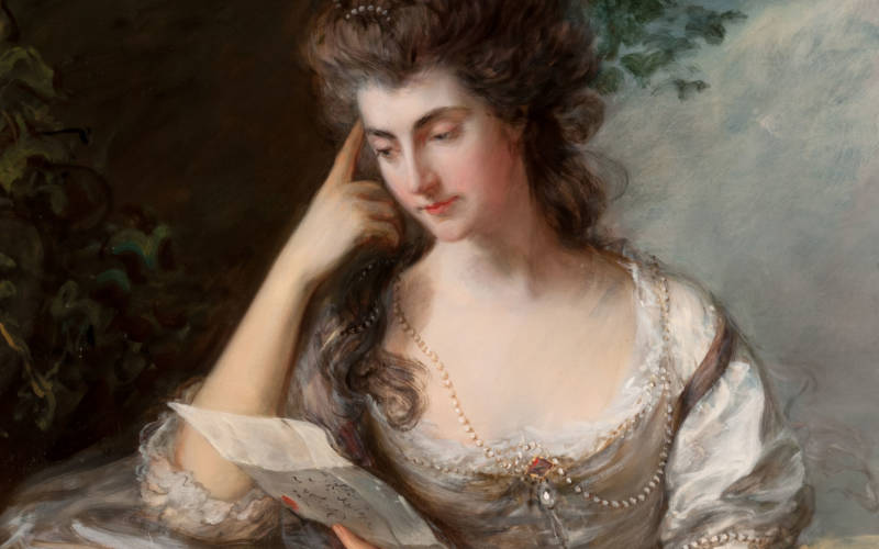 Full-length oil portrait of Mrs John Douglas (Frances Browne), seated and reading a letter