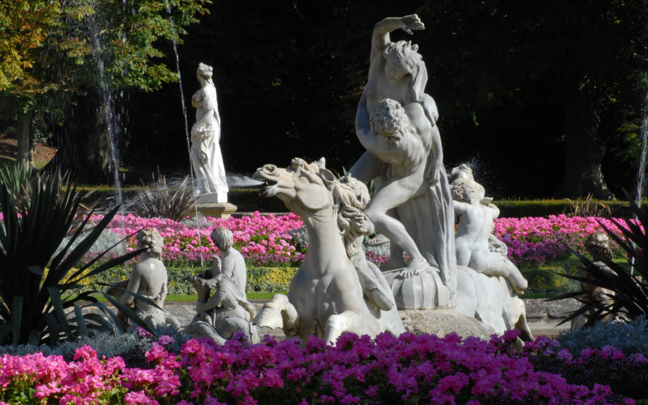 South Fountain sculptures in the Parterre with spring blooms