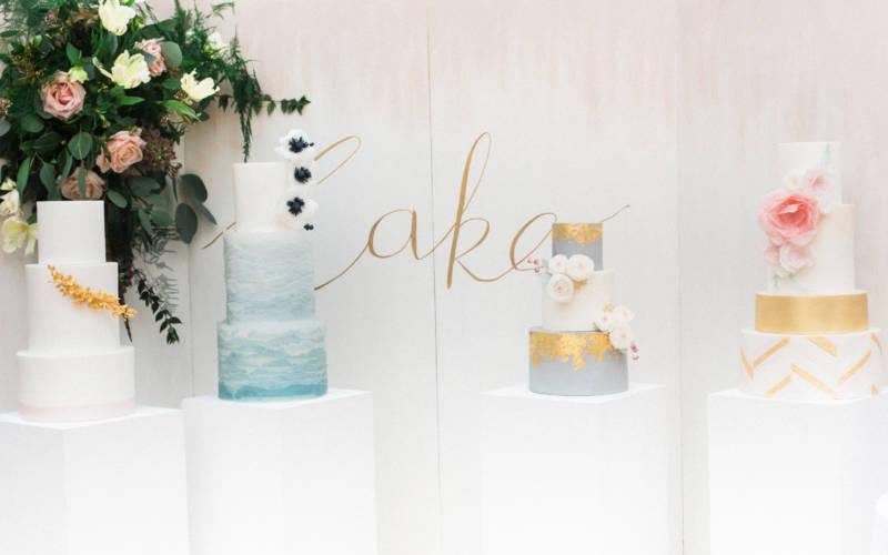 4 cakes at Waddesdon Wedding Inspiration Day