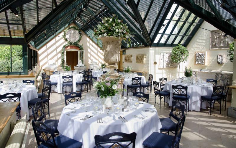 Waddesdon Dairy wintergarden, wedding tables