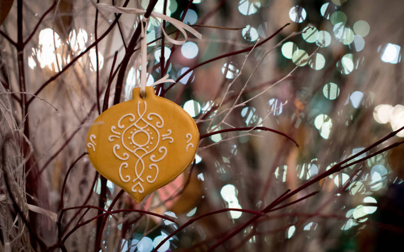 Christmas bauble decoration made from gingerbread