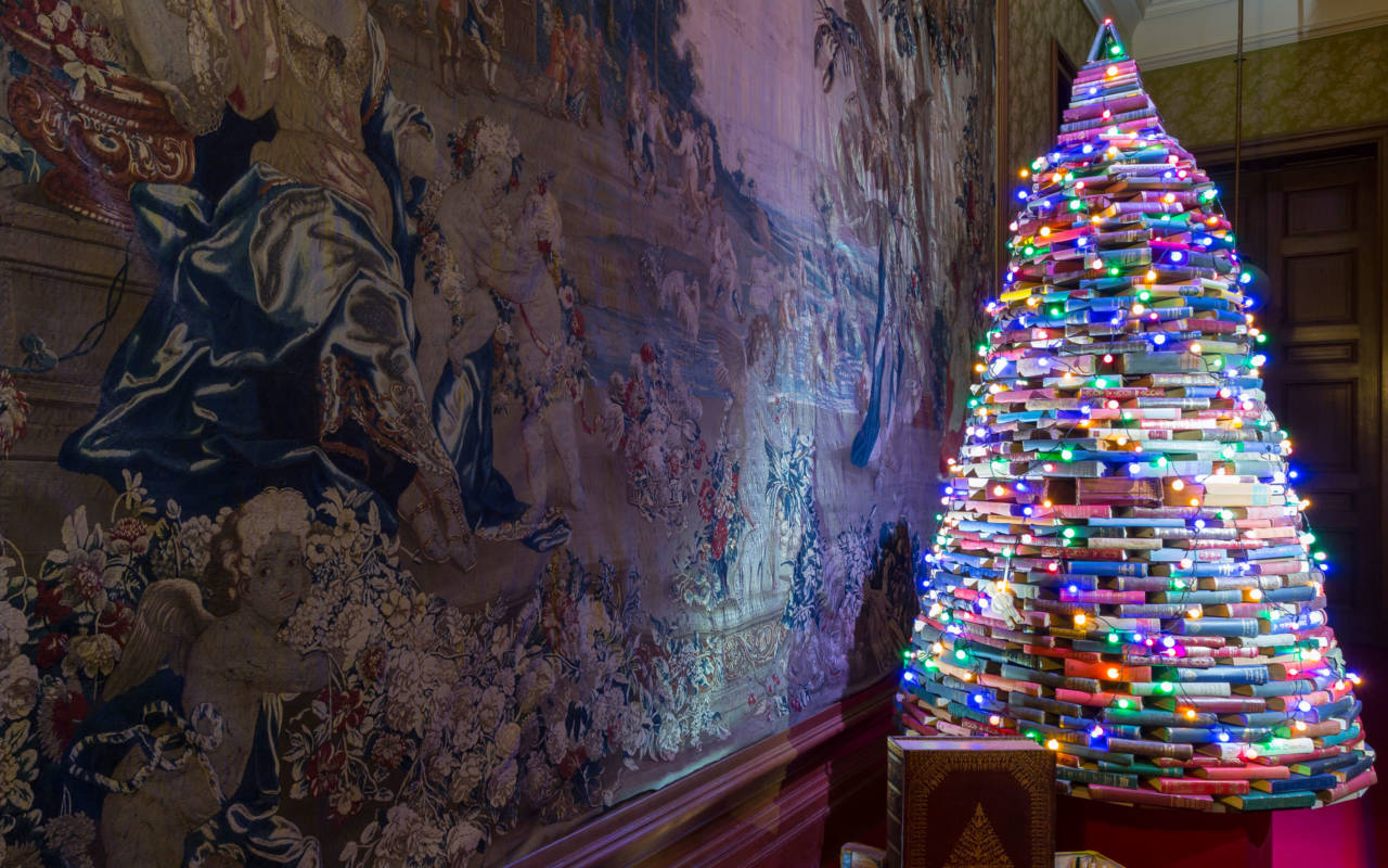 Book tree christmas house