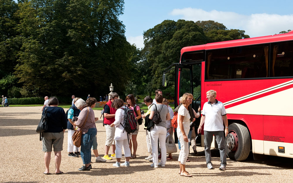 Group visitors arriving by coach