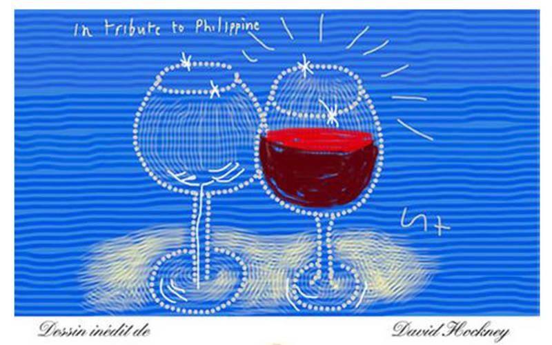 Château Mouton Rothschild 2014 wine label by David Hockney