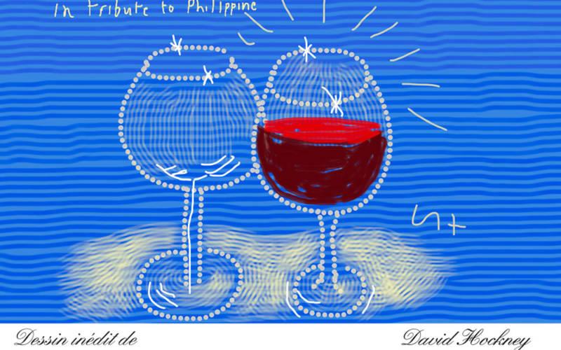 Château Mouton Rothschild 2014 wine label designed by David Hockney