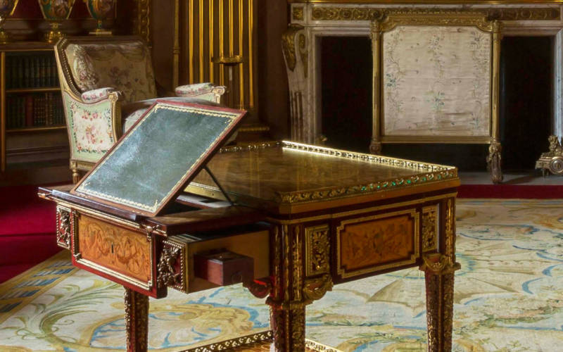 Marie Antoinette's writing table positioned in the Tower Drawing Room