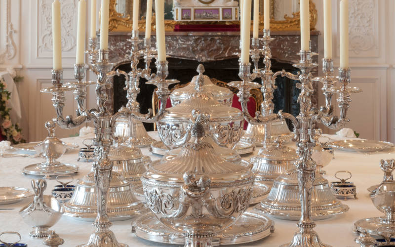 George III silver on the White Drawing Room table
