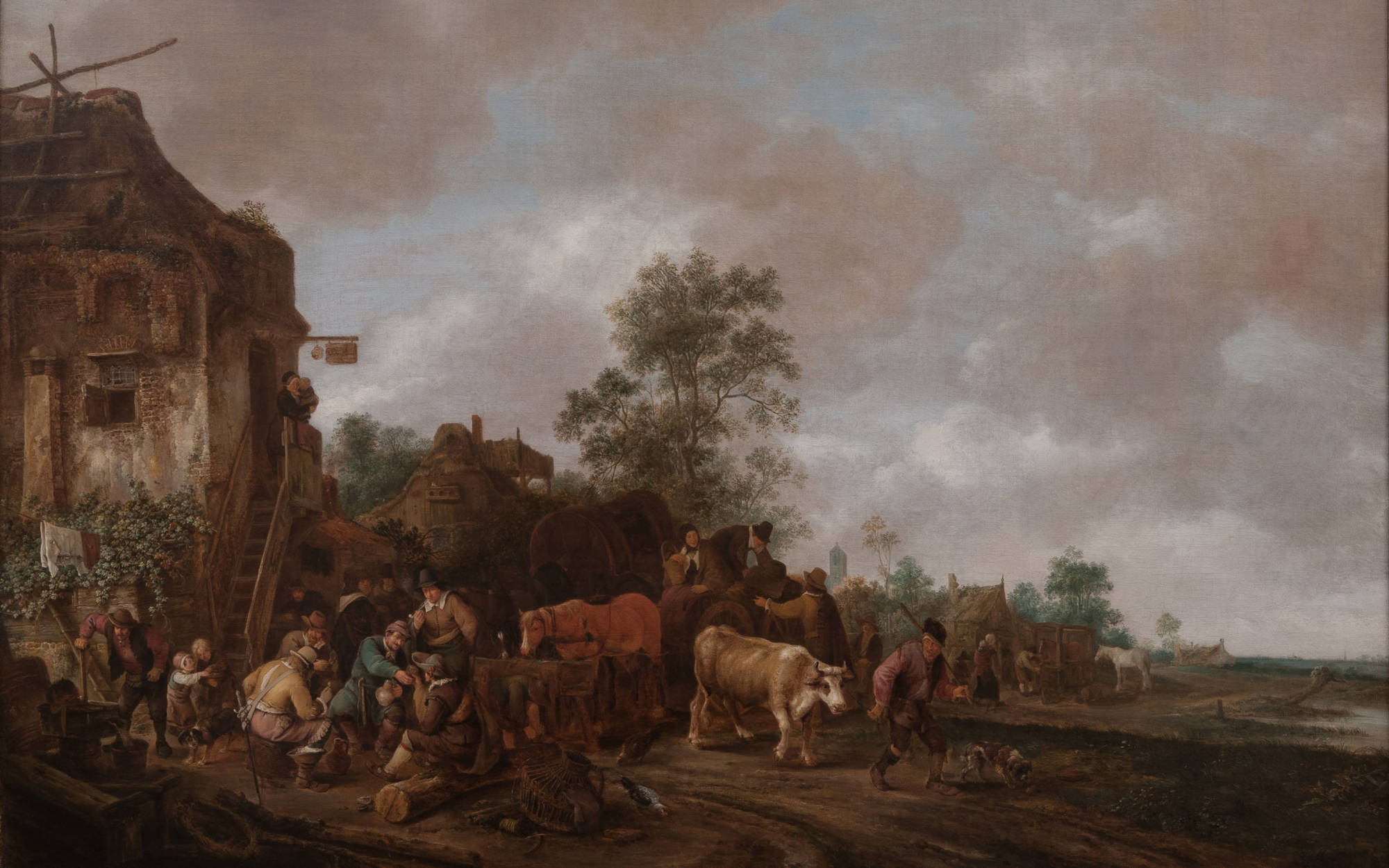 Isack van Ostade, Landscape with Cattle, Figures in Foreground in Front of an Inn, 1647; oil on canvas; 1345 x 1740mm; Waddesdon (National Trust); acc. no. 259; accepted under the Cultural Gifts Scheme by HM Government and allocated to the National Trust, 2016.