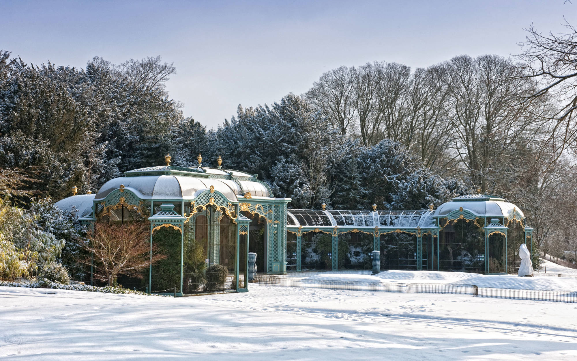 Aviary with snow on the ground