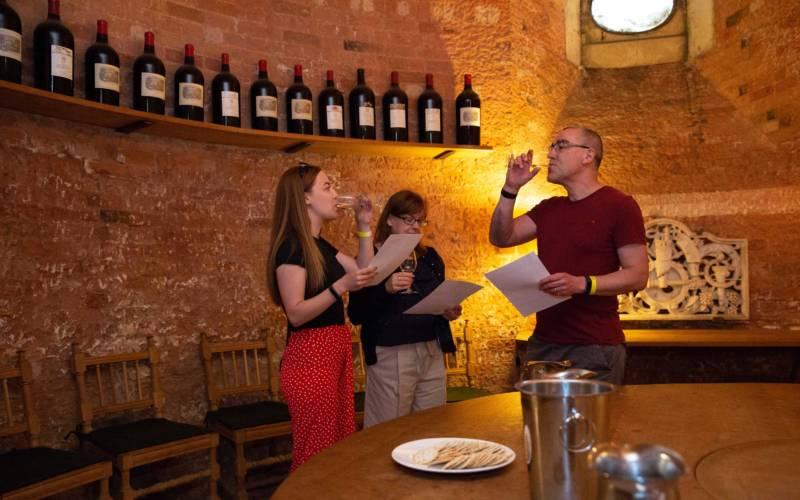 Wine tasting in the cellars