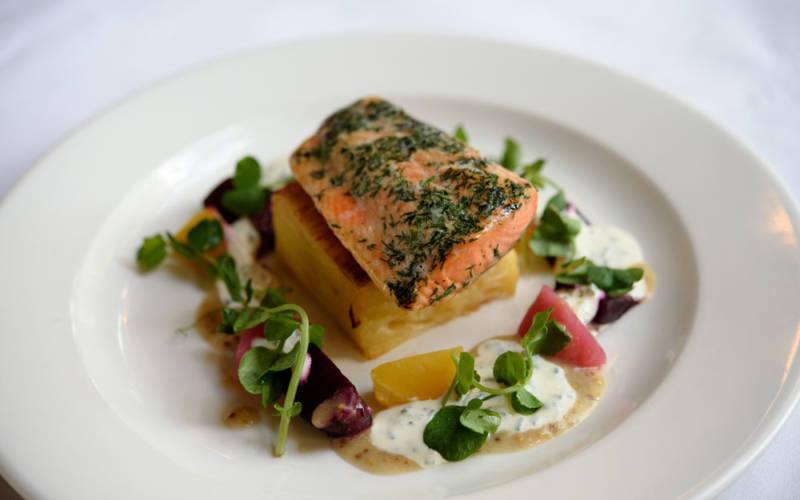 Manor restaurant plated salmon