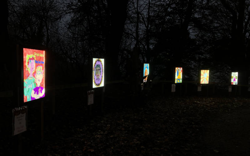Woodland theatre trail, showcasing local schools' Christmas artwork