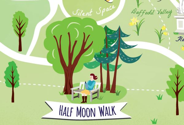 Close-up-Mindfulness-map-half-moon-walk
