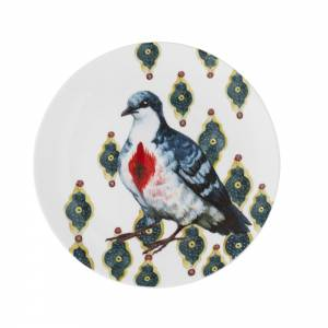 Side plate with exotic birds design