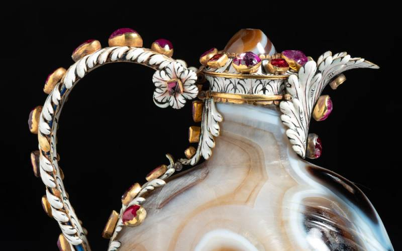 Close up of a marble decanter