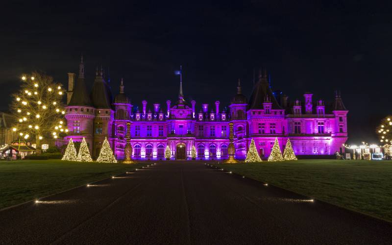 Christmas lights at Waddesdon Manor, Buckinghamshire