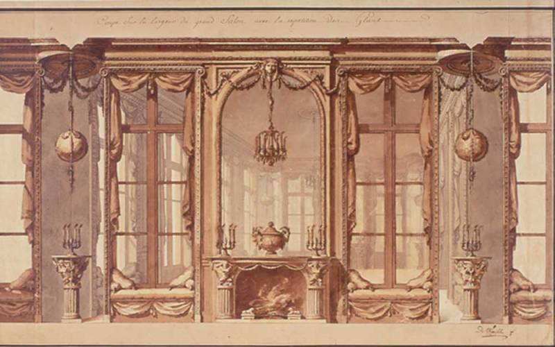 acc-no-2147-Design-for-a-grand-salon-lined-with-mirrors-1770s.-Waddesdon-Image-Library-Jerome-Letellier