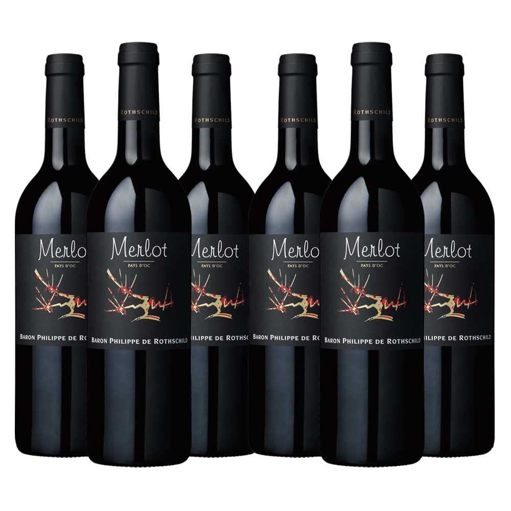Pays d'oc merlot black label six bottle case