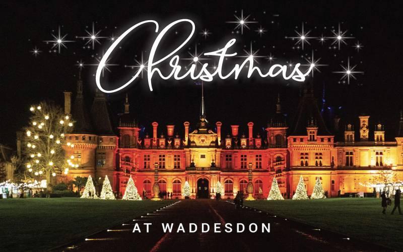 Sparkling lights across Waddesdon saying 'Christmas'