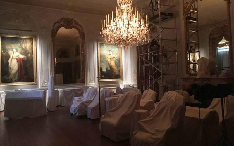Grey Drawing Room at Waddesdon Manor 'put to bed' for the winter