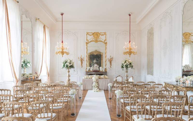 The White Drawing Room wedding ceremony set up. Photo Stuart Bebb © The National Trust, Waddesdon Manor.