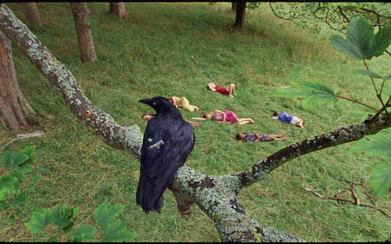 Still from film with crow and five children asleeep in the garden