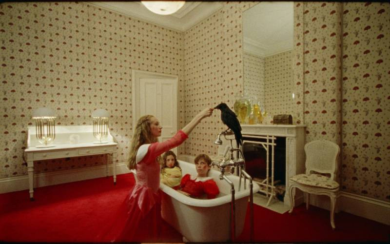 Two children in a bath attended by Crow at Waddesdon Manor