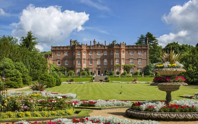 The parterre and south front of the house at Hughenden, Buckinghamshire.