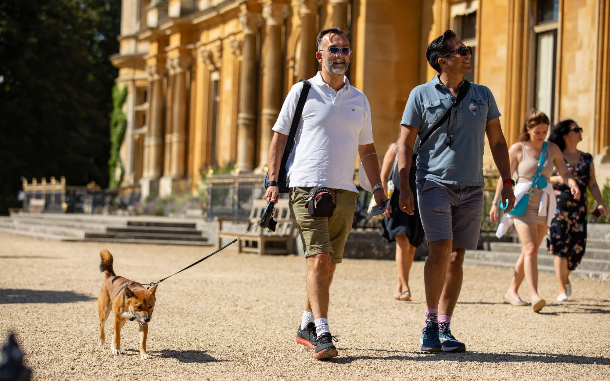 Visitors with a dog at Waddesdon