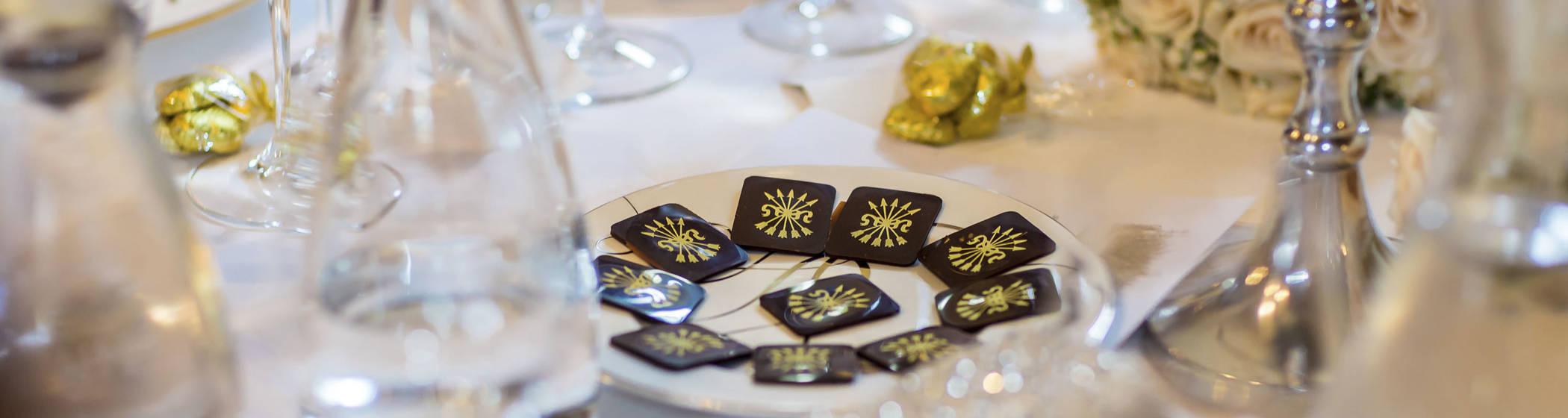 Chocolates on a table at a Waddesdon Manor wedding